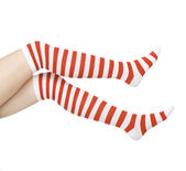 Woman legs in color red socks isolated on white — Stock Photo