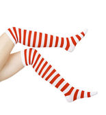 Woman legs in color red and white socks, isolated on white — Stock Photo