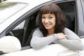 Pretty girl in a car — Stock Photo