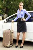 Pretty girl with suitcase — Stock Photo