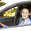 Pretty girl in a car — Stock Photo