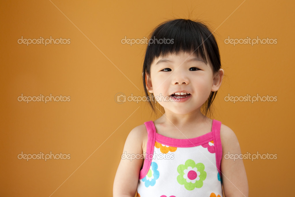 Portrait of a little Asian baby child girl  Stock Photo #5482155
