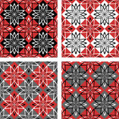 Seamless patterns set with checkered design. — Stock Vector