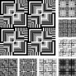 Seamless patterns set in op art design. — Stock Vector