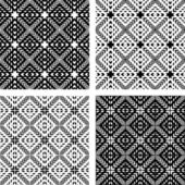 Seamless patterns set. Geometric textures. — Stock Vector