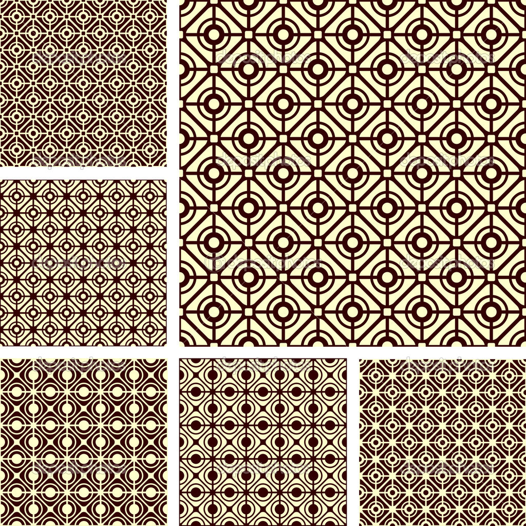 Seamless geometric latticed patterns set. Vector art. — Stock Vector #6721401