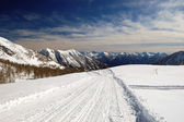 Snowy mountain panorama — Foto Stock