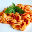 Orecchiette Pasta with Tomato sauce and basil - Stock Photo