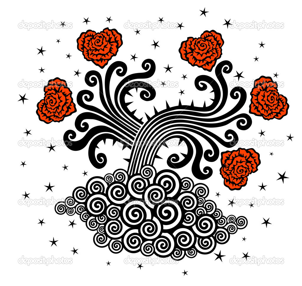 Vector roses black and red