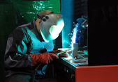 Welding of metal by argon — Stock Photo