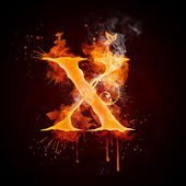 Fire Swirl Letter X — Stock Photo