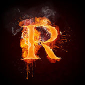 Fire Swirl Letter R — Stock Photo