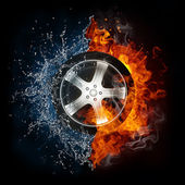 Car Wheel in Flame and Water — Stockfoto