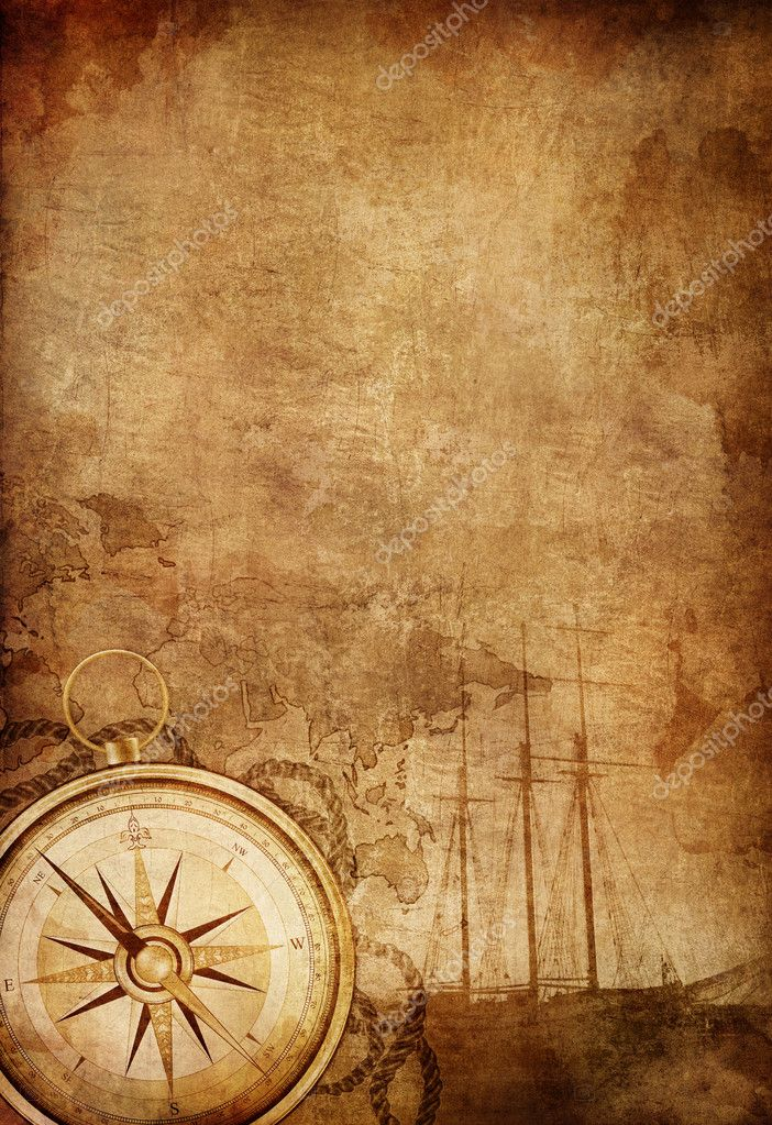 Old Paper Texture with Retro Styled Compass, Ship and Rope.  Stock Photo #5845725
