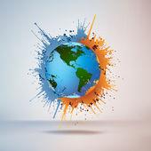 Globe in Paint — Stock Vector