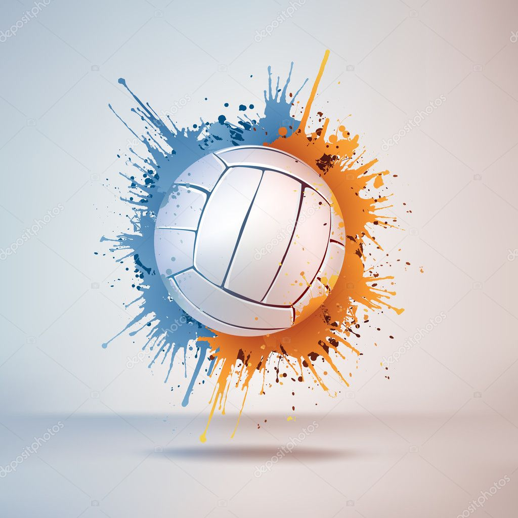 Volleyball Ball in Paint on Vignette Background. Vector. — Stock Vector #6466056