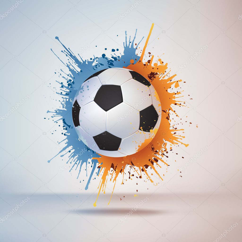 Soccer Ball in Paint on Vignette Background. Vector.  Stock Vector #6466406
