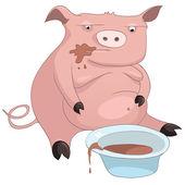 мультфильм характер свинья — Cтоковый вектор
