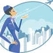 Stock Vector: Stewardess
