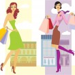 Shopping girls — Stock Vector #5400203