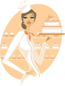 Woman holding wedding cake — Stock Vector