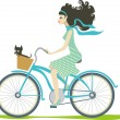 Stock Vector: Girl cycling