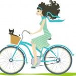 Girl cycling — Stock Vector