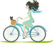 Girl cycling — Stockvektor