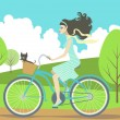Girl cycling — Stock Vector #5543207