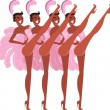 Cabaret showgirls — Stock Vector
