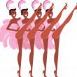 Stock Vector: Cabaret showgirls