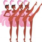 Cabaret showgirls — Stock Vector
