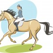 Jockey on a horse - Stock Vector