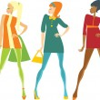 Sixties girls — Stock Vector