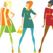 Sixties girls — Stockvectorbeeld