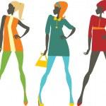 Sixties girls — Stock Vector