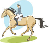 Jockey on a horse — Stock Vector