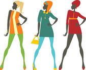 Jaren zestig meisjes — Stockvector