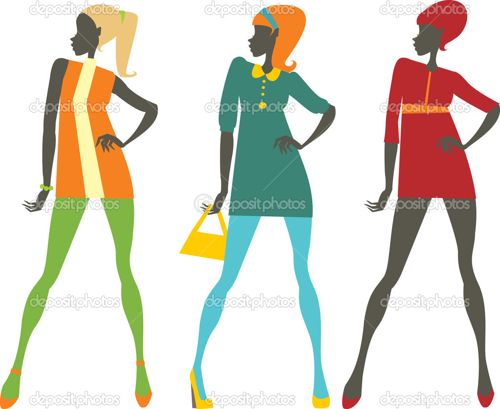 Sixties style fashionable colorful girls  — Stock Vector #5707076