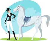 Beautiful horsewoman — Vector de stock