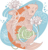 Koi carp in pond — Stock Vector