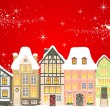 Stock Vector: Christmas town