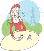 French girl in cafe — Stock Vector