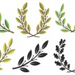 Laurel wreaths and branches — Imagen vectorial