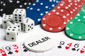 Poker cards, chips and dices — Stock Photo