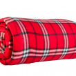 Red fleece blanket in  cage — Stock Photo