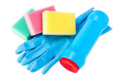 Set of cleaning, rubber glove, sponge, plastic bottle — Stock Photo