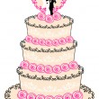 Wedding cake, vector — Stockvectorbeeld