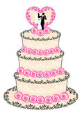 Wedding cake, vector — Vector de stock