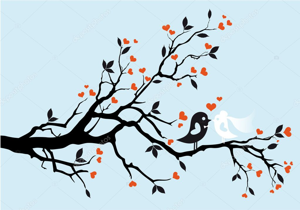 Wedding birds kissing, vector illustration — Imagens vectoriais em stock #5482070